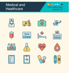 Medical and healthcare icons filled outline vector