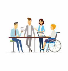 meeting in the office - modern cartoon people vector image