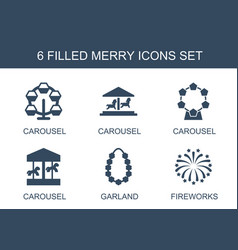 Merry icons vector