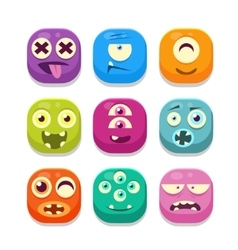 Monster emoji icons collection vector