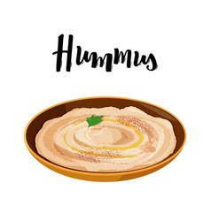 National dish jewish cuisine hummus in ceramic vector