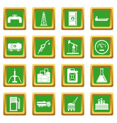 Nature items icons set green vector