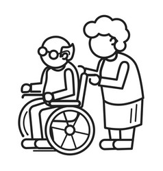 old person in wheel chair concept background vector image