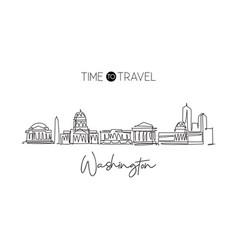 One single line drawing washington city vector
