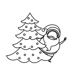 outlined santa claus with tree christmas vector image