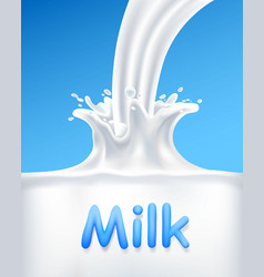 Pour milk into a container vector