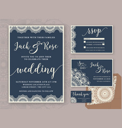 rustic wedding invitation design template vector image