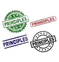 Scratched textured principles seal stamps vector