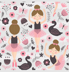 Seamless pattern with cute ballerina girl vector