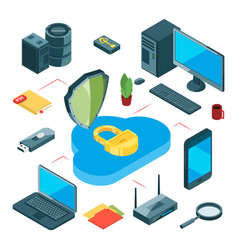 secure cloud storage isometric data storage vector image