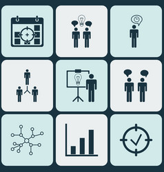 set 9 executive icons includes team meeting vector image