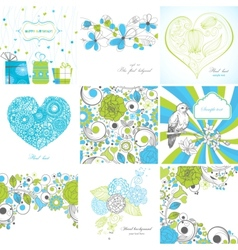 set greeting cards vector image