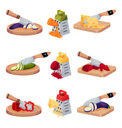 Set of images with vegetables and cheese chopped vector