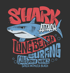 Shark t-shirt surf print design vector