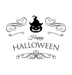 Smile pumpkin happy halloween filigree scroll and vector