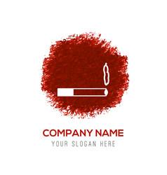 smoking icon - red watercolor circle splash vector image