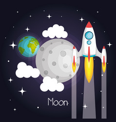 Space rocket flying in space with moon earth and vector