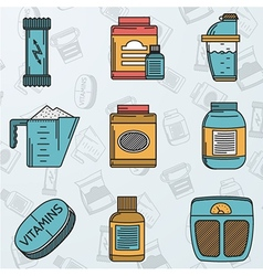 Sport supplements flat icons collection vector