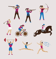 Sports Athletes Women Set vector image
