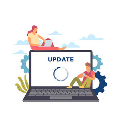 System update maintenance process man and woman vector