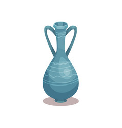 tall blue amphora with ornament old ceramic jug vector image