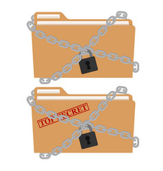 The metal chain and padlock folder file vector