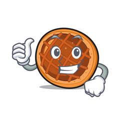 thumbs up baket pie character cartoon vector image