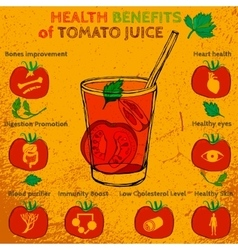 Tomato juice benefits vector image