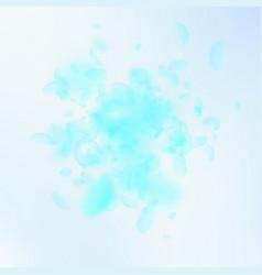 Turquoise flower petals falling down divine roman vector