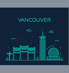vancouver city skyline canada linear style vector image