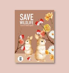 Winter animal poster design with rabbit flower vector