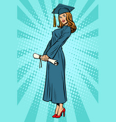 Woman college or university graduate posing vector