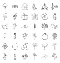 forest icons set outline style vector image vector image