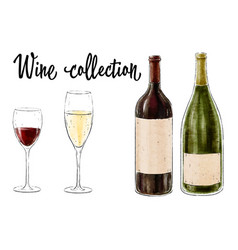 two bottles of wine with two glasses isolated vector image vector image