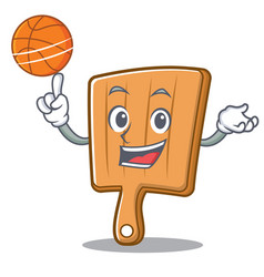 with basketball kitchen board character cartoon vector image
