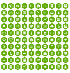 100 school icons hexagon green vector image vector image