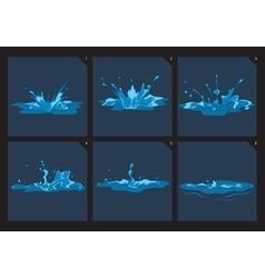 Blue water splashes frame set for game vector image