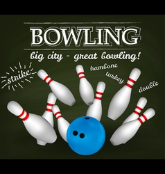 Bowling poster vector image vector image