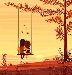 Boy and girl looking at the sunset Romantic night vector image
