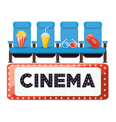 cinema with comfortable chair and food with ticket vector image vector image