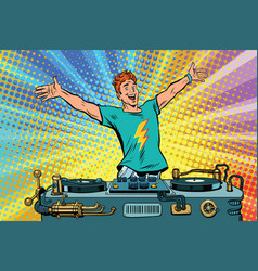 dj on a club party vector image