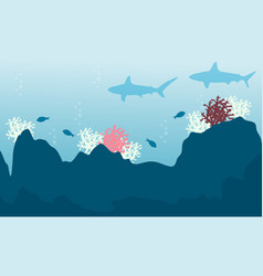 Fish and coral reef landscape vector