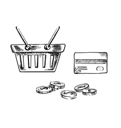 Shopping cart with credit card and coins vector image