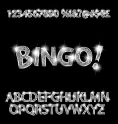 bingo silver glowing alphabet and numbers vector image
