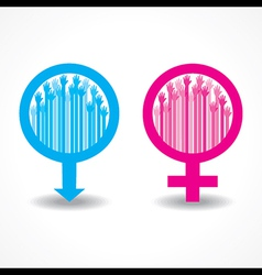 Colorful raised hand in the male and female symbol vector image