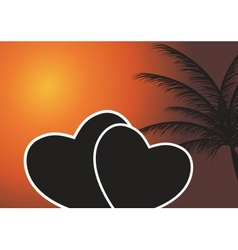 Heart in the sunset EPS 10 vector image vector image