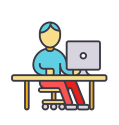 man working at computer at table flat line vector image