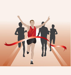 runners crossing the finish line vector image vector image