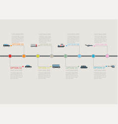 transportation infographic timeline with stepwise vector image vector image