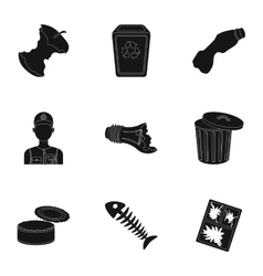 Trash and garbage set icons in black style Big vector image vector image